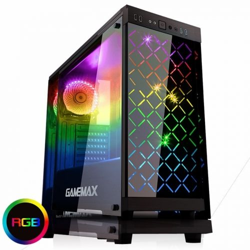 голяма снимка на Case Gamemax ATX Fully Tempered Glass Polaris Black RGB