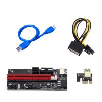 PCI-E 1X 4X 8X 16X Extender Riser Adapter Card Sata 15Pin to 6 Pin Power Cable